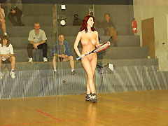 Jana E. nude in public at a squash center!
